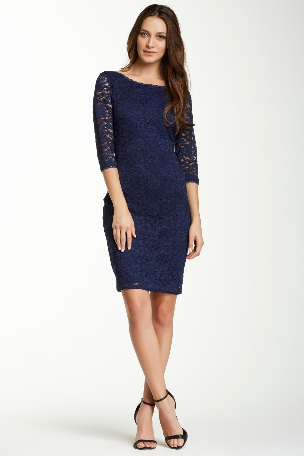 Laundry By Shelli Segal Lace Bodycon Dress Navy lace Lace