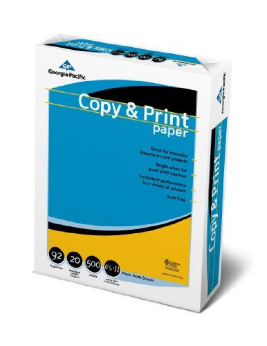 GP Copy Print Paper 85 X 11 Inches Letter Size 92 Bright White 20 Lb Ream Of 500 Sheets 998067R