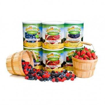 Berries ReadyPack. This 6-can pack of food storage fruits has strawberries, raspberries, blueberries and blackberries!