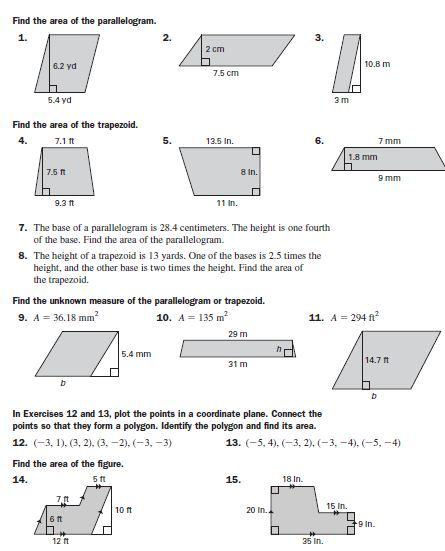 Area Of Parallelograms Trapezoids With Images Math Lessons