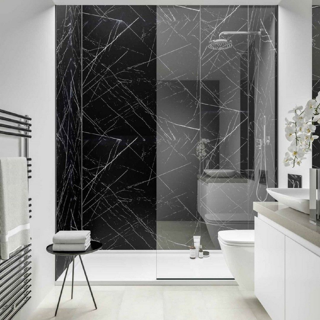 Gorgeous Black Marble Bathroom To Add A Little Luxury In Your Quality Time Black Marble Bathroom Bathroom Wall Panels White Marble Bathrooms