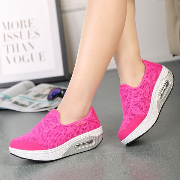 Mesh Shoes Women Breathable Athletic Casual Rocker Sole