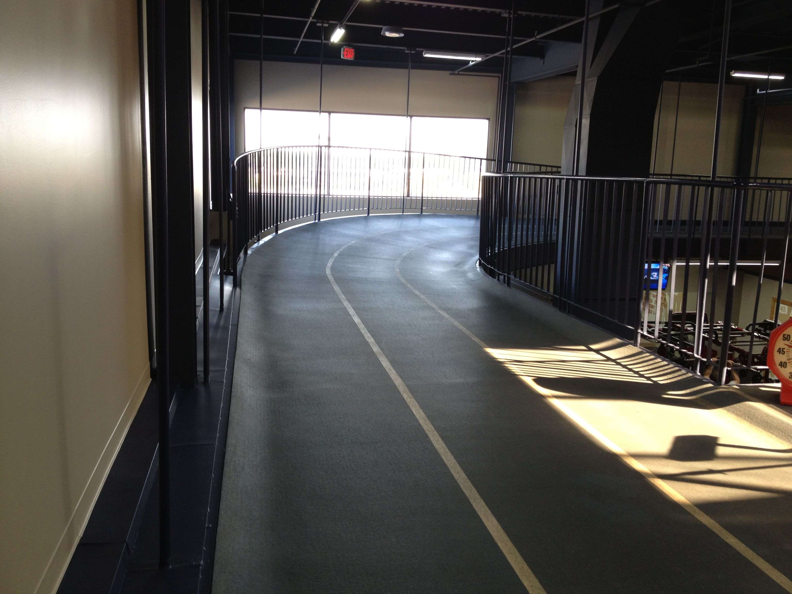 Run, jog or walk Cleveland Fitness Club's indoor track to