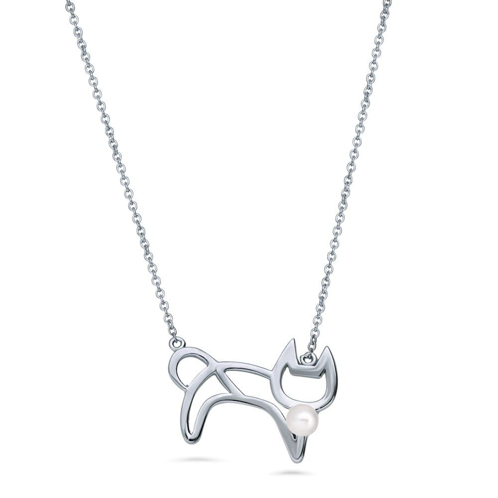 Sterling Silver Simulated Pearl Cat Pendant