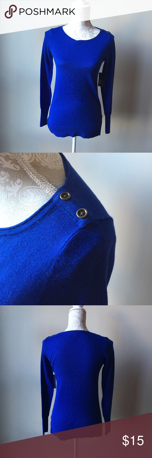 Blue sweater with button detail Brand new with tags and ready for a new home! Ana Sweaters