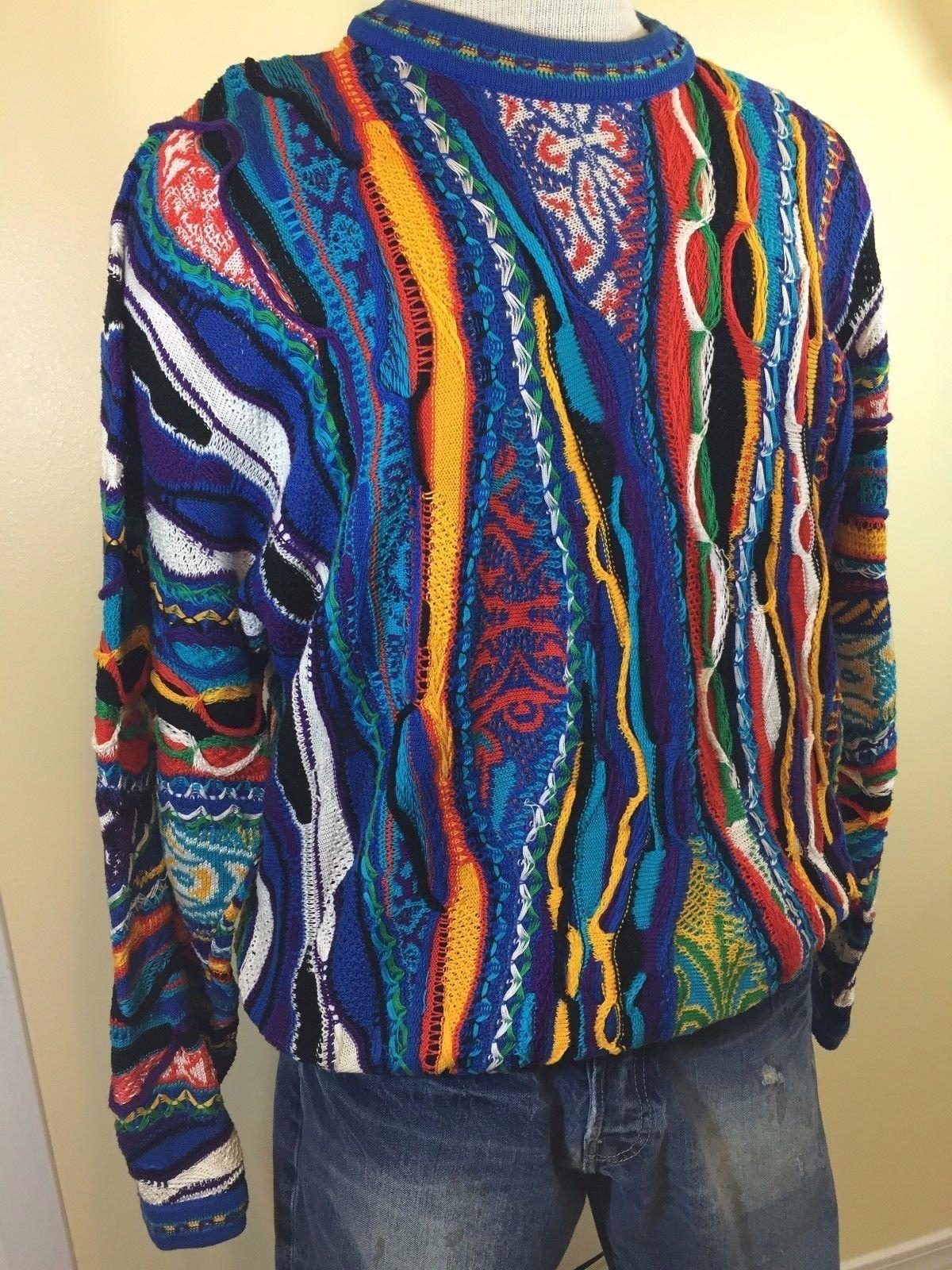 8c779afaf22f Vintage COOGI Mens Mercerized Cotton 3D Colorful Biggie Cosby Sweater  Medium | eBay