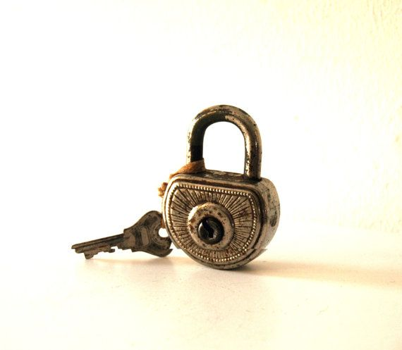 1950's German Antique Vintage Silver ABUS Padlock with Key