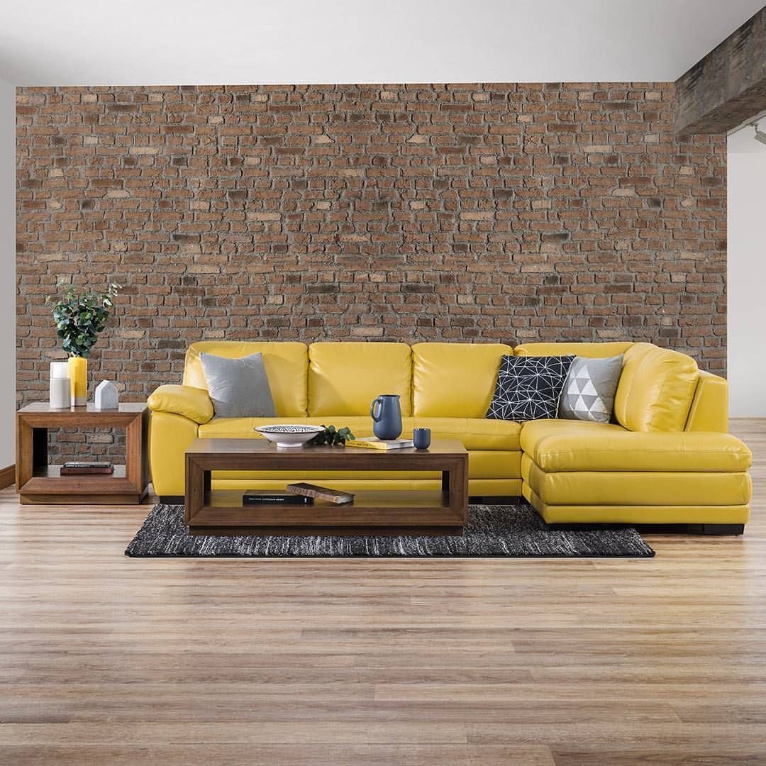 Pop Of Sunshine The Corinne Leather Look Corner Chaise Is Part Of Amart Furniture S Endurocover Collection Upholster Furniture Outdoor Sectional Sofa Chaise