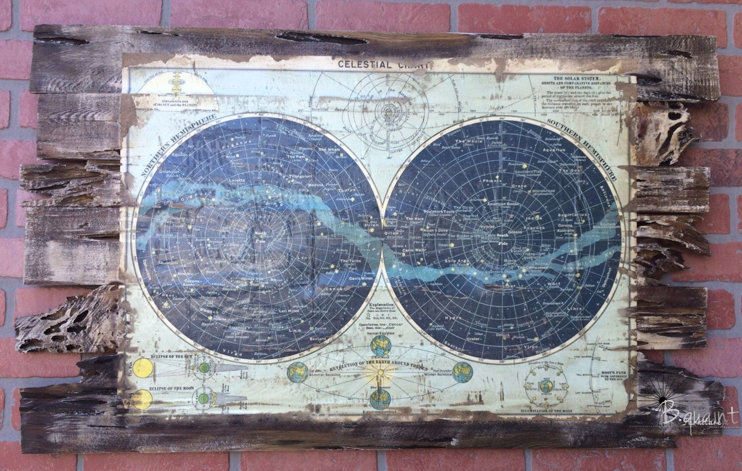 Pecky Cypress Wood Celestial Chart by Bquaint on Etsy https://www.etsy.com/listing/264752929/pecky-cypress-wood-celestial-chart
