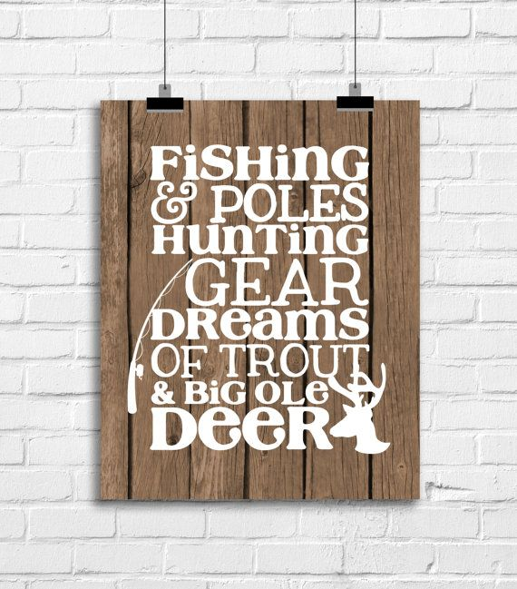 Fishing Hunting Baby Nursery Decor, Deer Antlers Art, Deer
