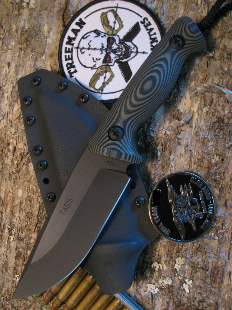 Treeman Knives TASS Seal Team Tactical Bat Knife Blade OD Black G