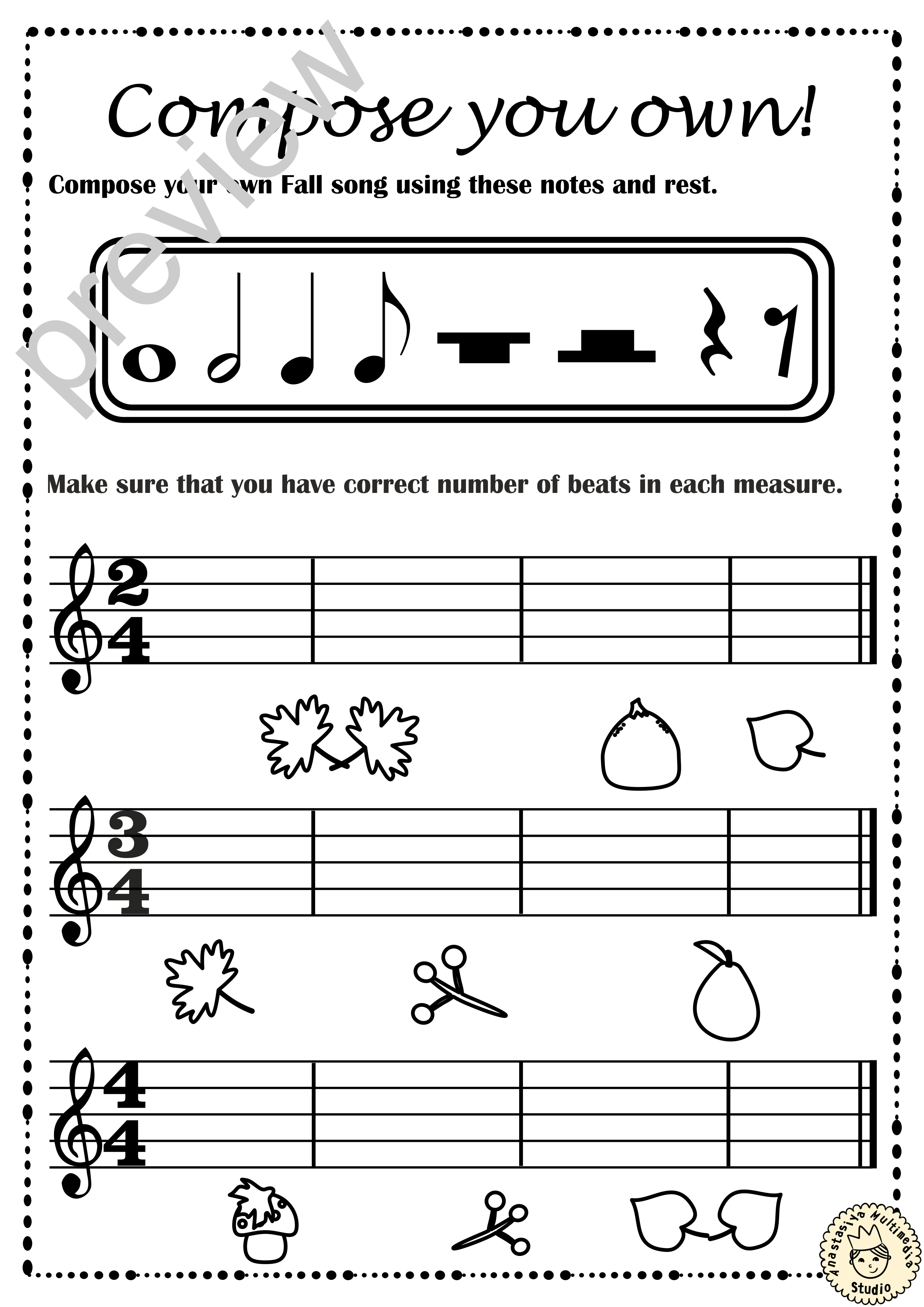 Fall Music Rhythm Worksheets For Beginners With Answers In