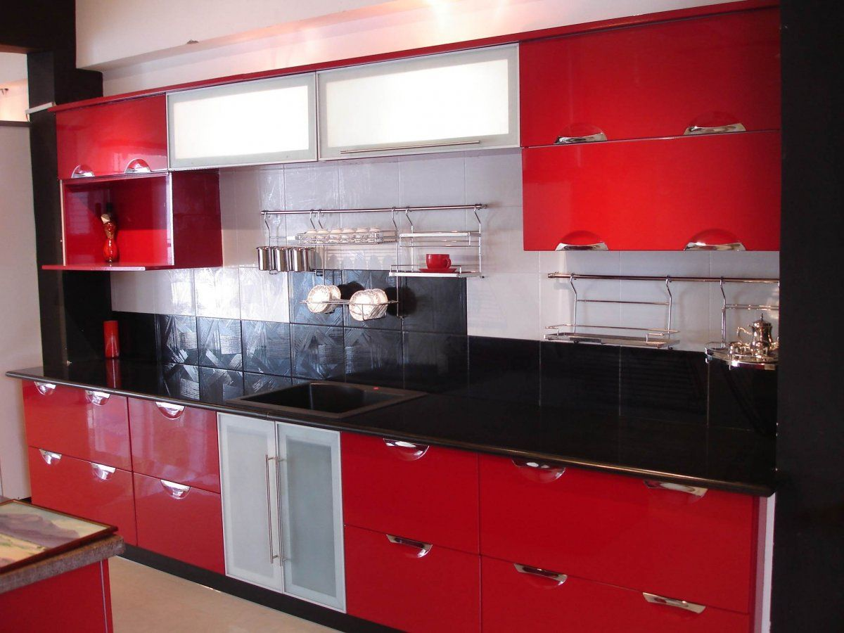 Modern Red Kitchen Cabinet Furniture With Black And White Backsplash  Combined With Soft Brown Concrete Floor