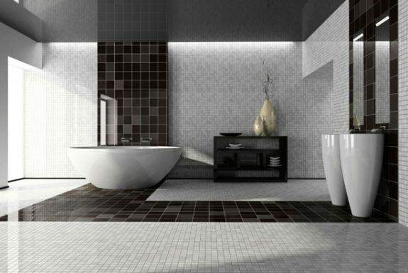 Salle de bain noir et blanc une pièce élégante et moderne House