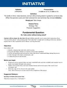 Initiative - Character Lesson Plan  Free, downloadable, 52