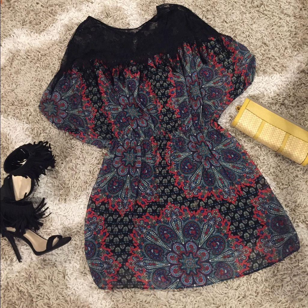 Paisley print yoke with fringe dress size ml fringe dress and