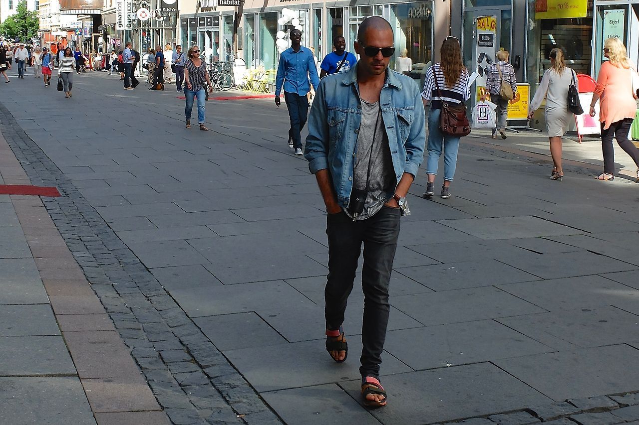 """Taking my """"Himalayan"""" sandals for a spin in Oslo center  Sandals: Bernhard Willhelm & Camper  Jacket: Levis Jeans: Edwin Jeans  Key-holder: Acne Studios Sunglasses: Persol  Watch: Georg Jensen"""
