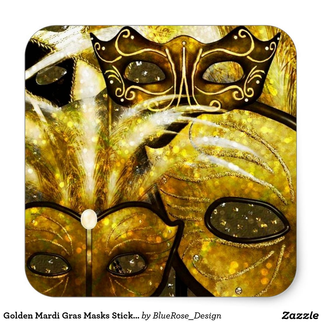 Golden Mardi Gras Masks Stickers | Stuff SOLD on Zazzle | Pinterest ...