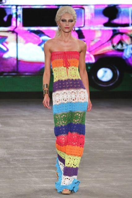 Colorful strapless crochet dress