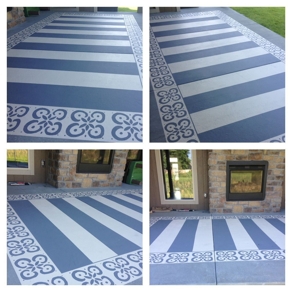 Top 10 Stencil And Painted Rug Ideas For Wood Floors: Painted Patio With Patio & Concrete Paint, Blue Tape And A