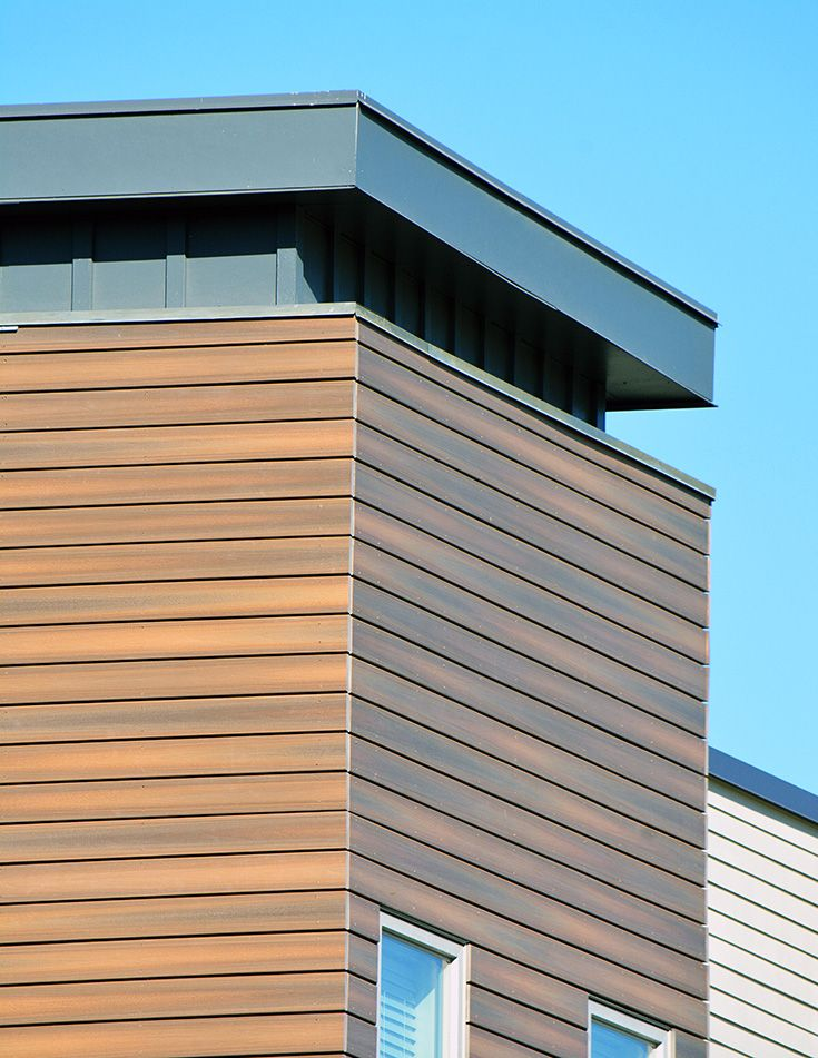 Believe It Or Not This Wood Cladding Facade Isn T Wood It S Fiberon Composite Cladding This Rain Scre Wood Siding Exterior Composite Cladding House Cladding