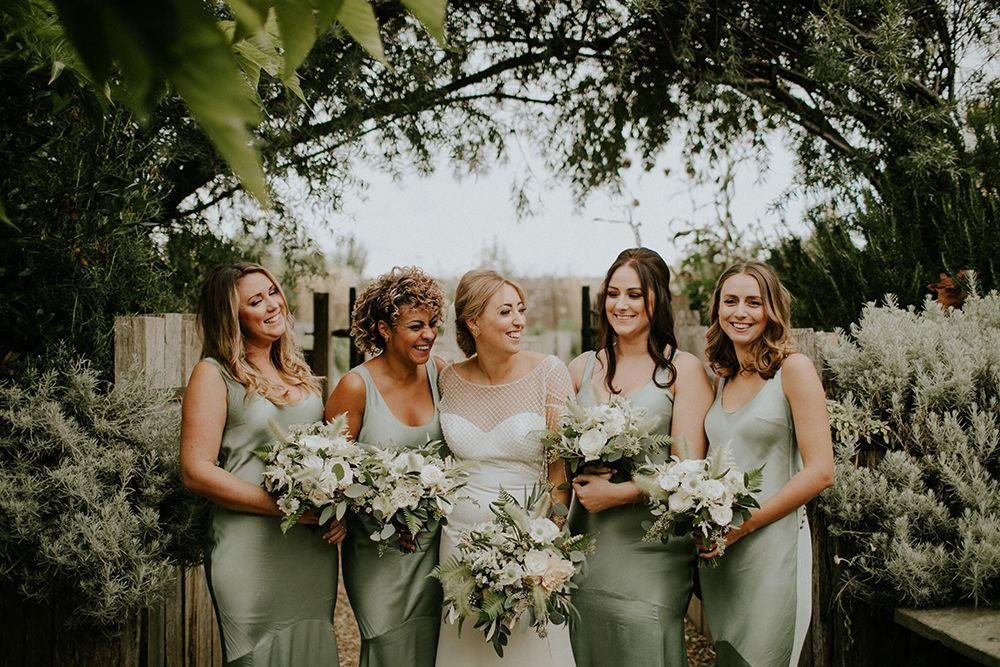 The Bell In Ticehurst Wedding Cool Modern Gold Geometric Botanical Whimsical Wonderland Weddings Sage Bridesmaid Dresses Green Bridesmaid Dresses Bridesmaid