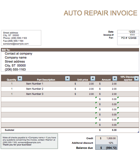 Auto Repair Invoice Template Stationary Templates Pinterest