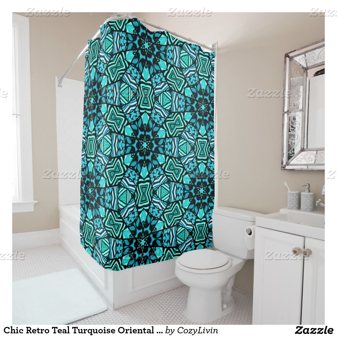 Chic Retro Teal Turquoise Oriental Mosaic Pattern Shower