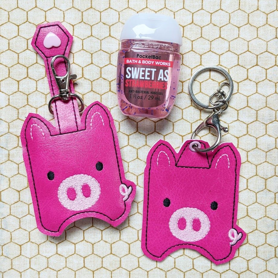 Piggy Hand Sanitizer Holder Key Fob Snap Tab October 2018