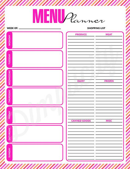 Weekly Menu Planner Printable Digital Download Pink by Dimplicity - printable shopping list