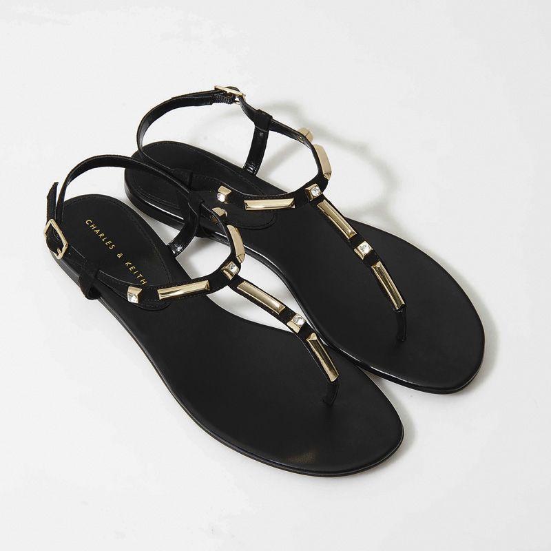 7352d649f4cc2 Embellished Flat Sandals - Black - Flats - Shoes