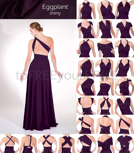 Long infinity dress in EGGPLANT purple shiny 8dcfcb0e8