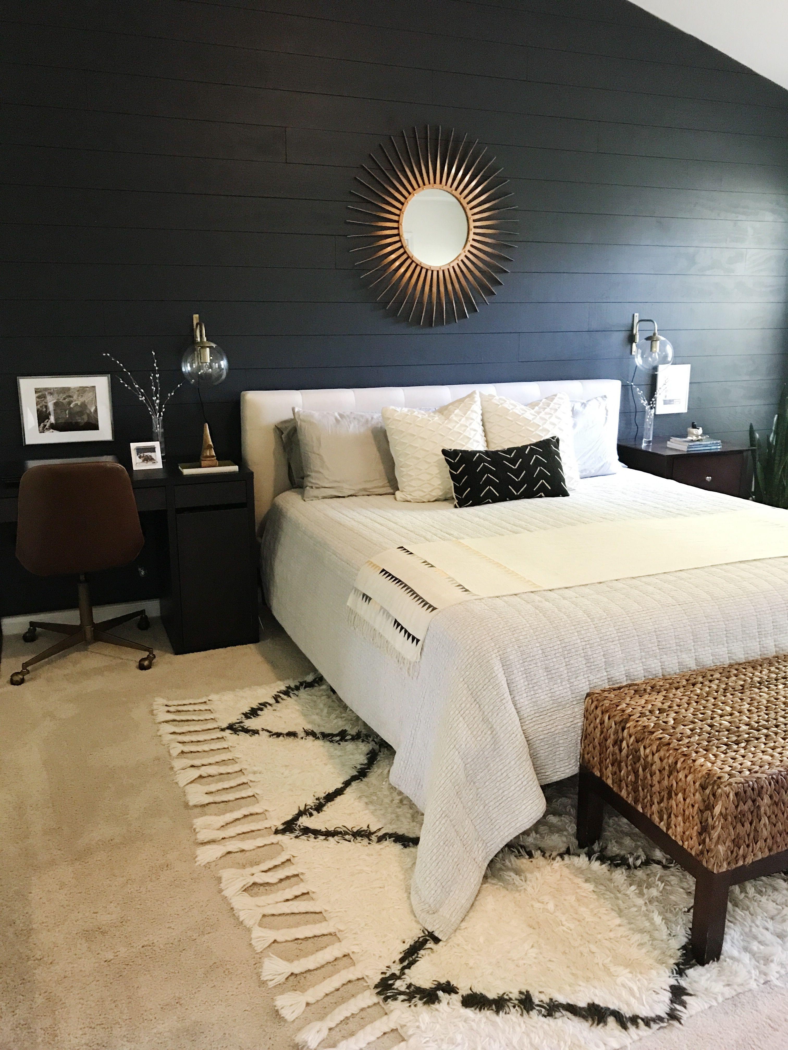 Master Bedroom Desk In Master Black Shiplap Wall Boho