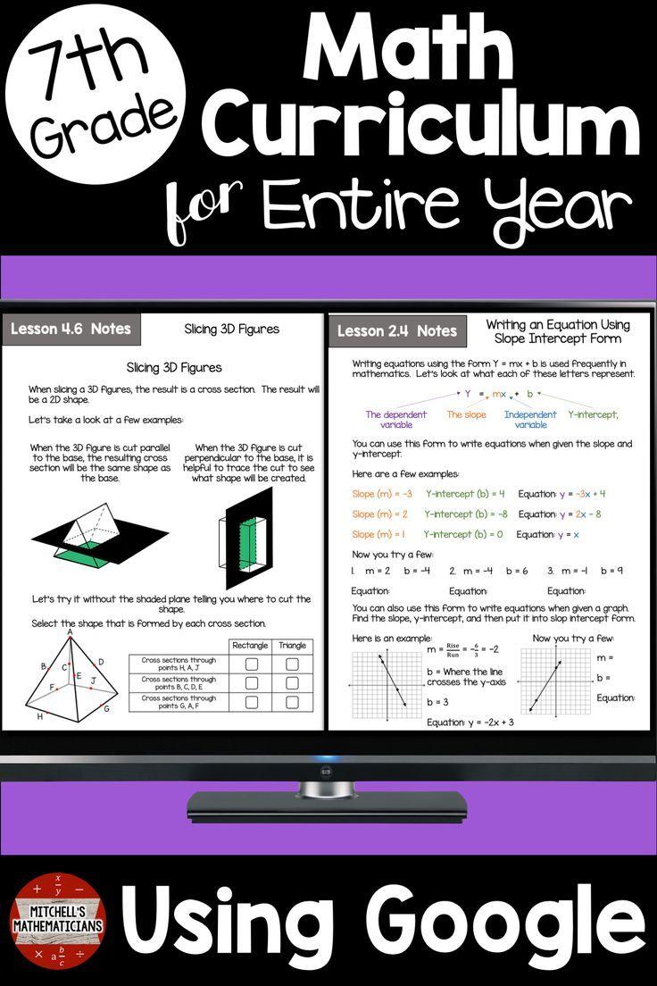 7th Grade Math Curriculum Common Core Aligned Using Google