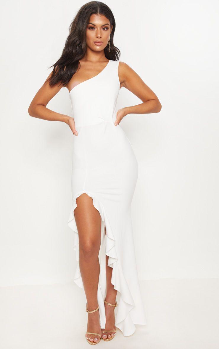 White One Shoulder Ruffle Hem Maxi Dress Maxi Dress Grad Dresses Long Long Maxi Dress [ 1180 x 740 Pixel ]