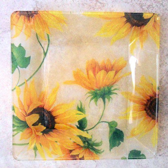 Amazing Sunflower Kitchen Accessories | ... Semi Transparent Glass Plate, Sunflower  Kitchen Decor,