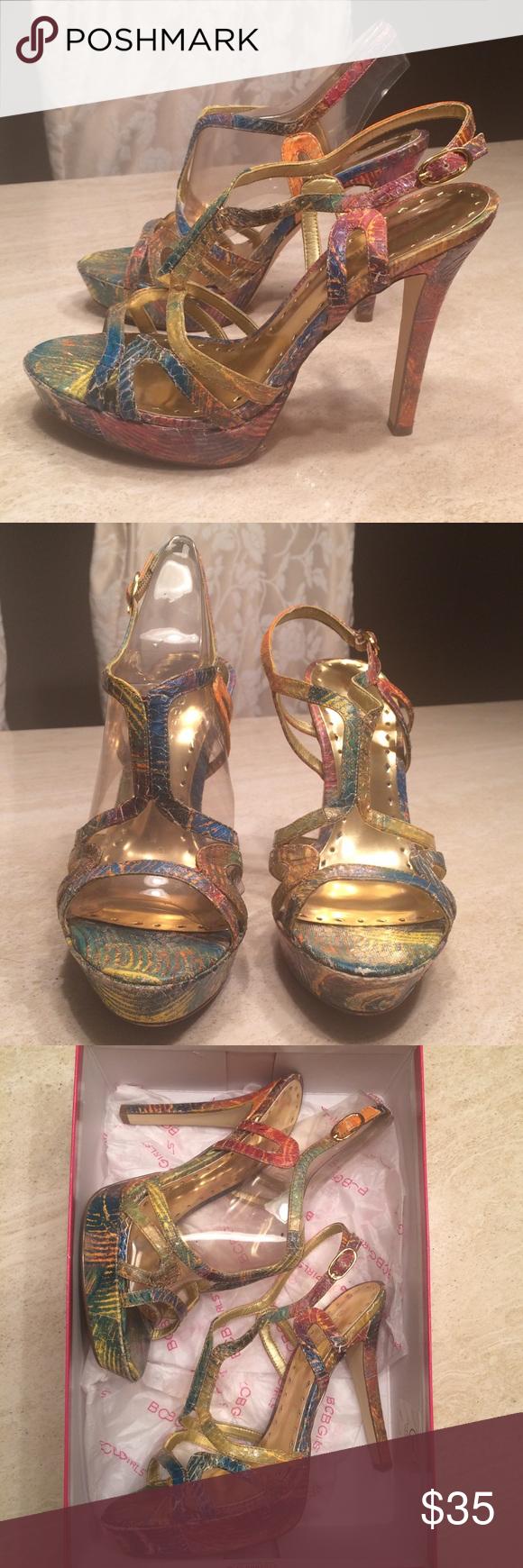 BCBG Heels BCBG Angel Heels in Multi Swirl Art Snake print. Worn a few times. Excellent Condition. Size 7 1/2 BCBG Shoes Heels