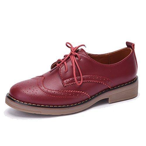 Moonwalker Zapatos con Cordones de Cuero Mujer Oxford Cuña (EUR 39,Blanco)