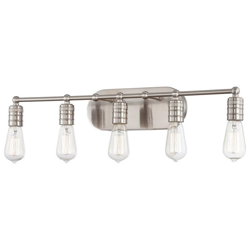 View The Minka Lavery 5136 5 Light Bathroom Vanity Light From The New Industrial Bathroom Light Fixtures Inspiration