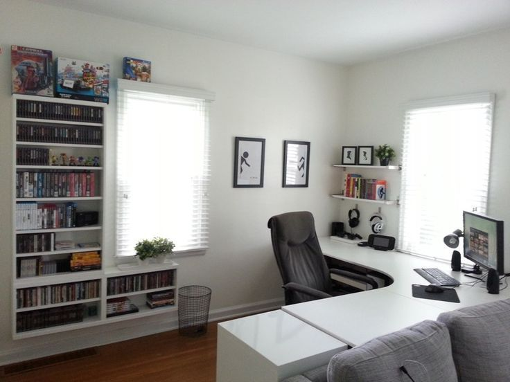 With wooden desk possibly an option maybe some shelving on the walls by desk for... -