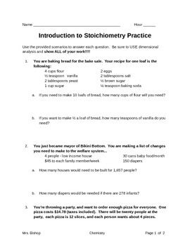 Stoichiometry Worksheet Solving Word Problems