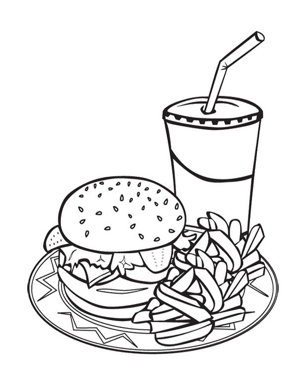 Junk Food Burger And Drink Coloring Page For Kids | Burger ...