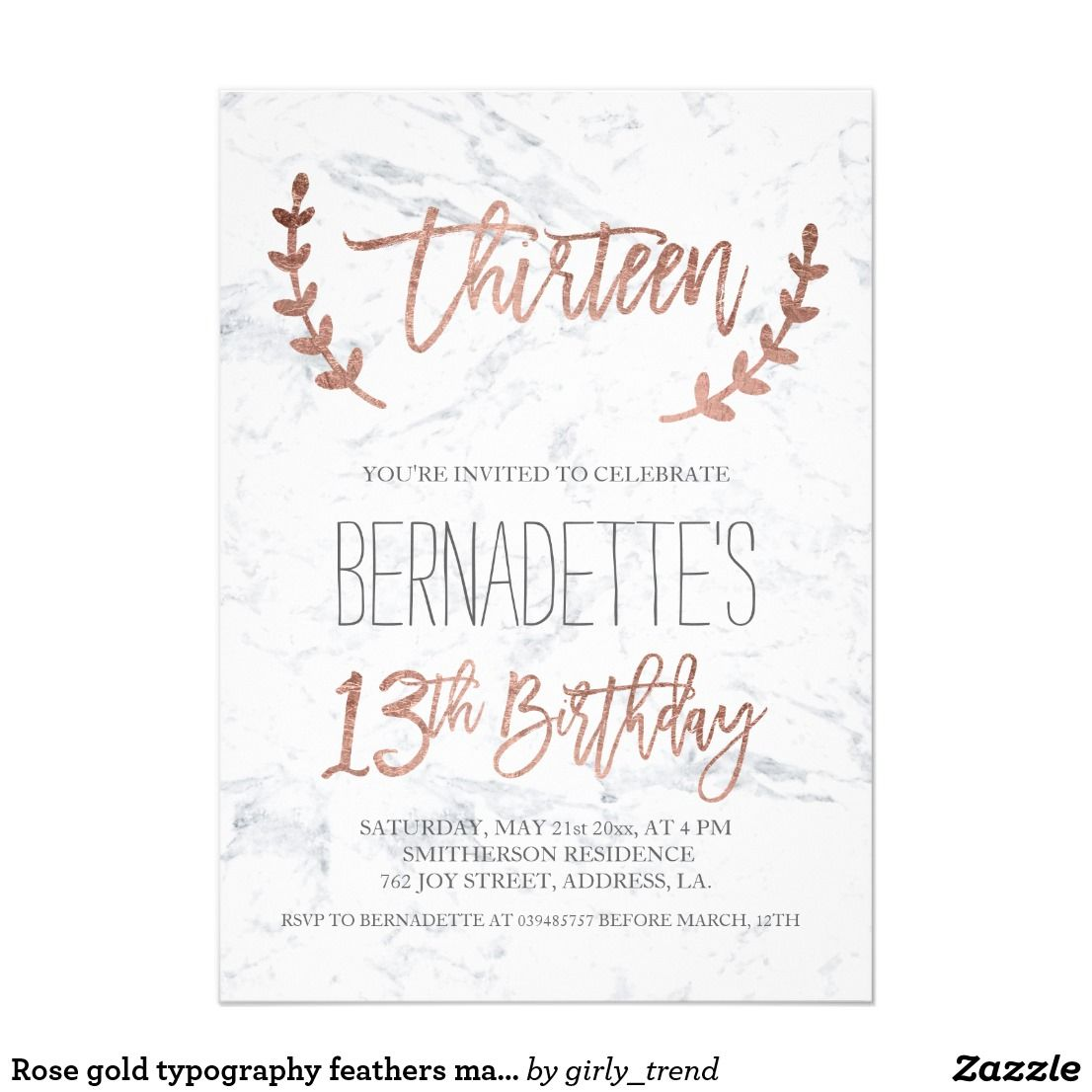 Marble 13th Birthday Invitation