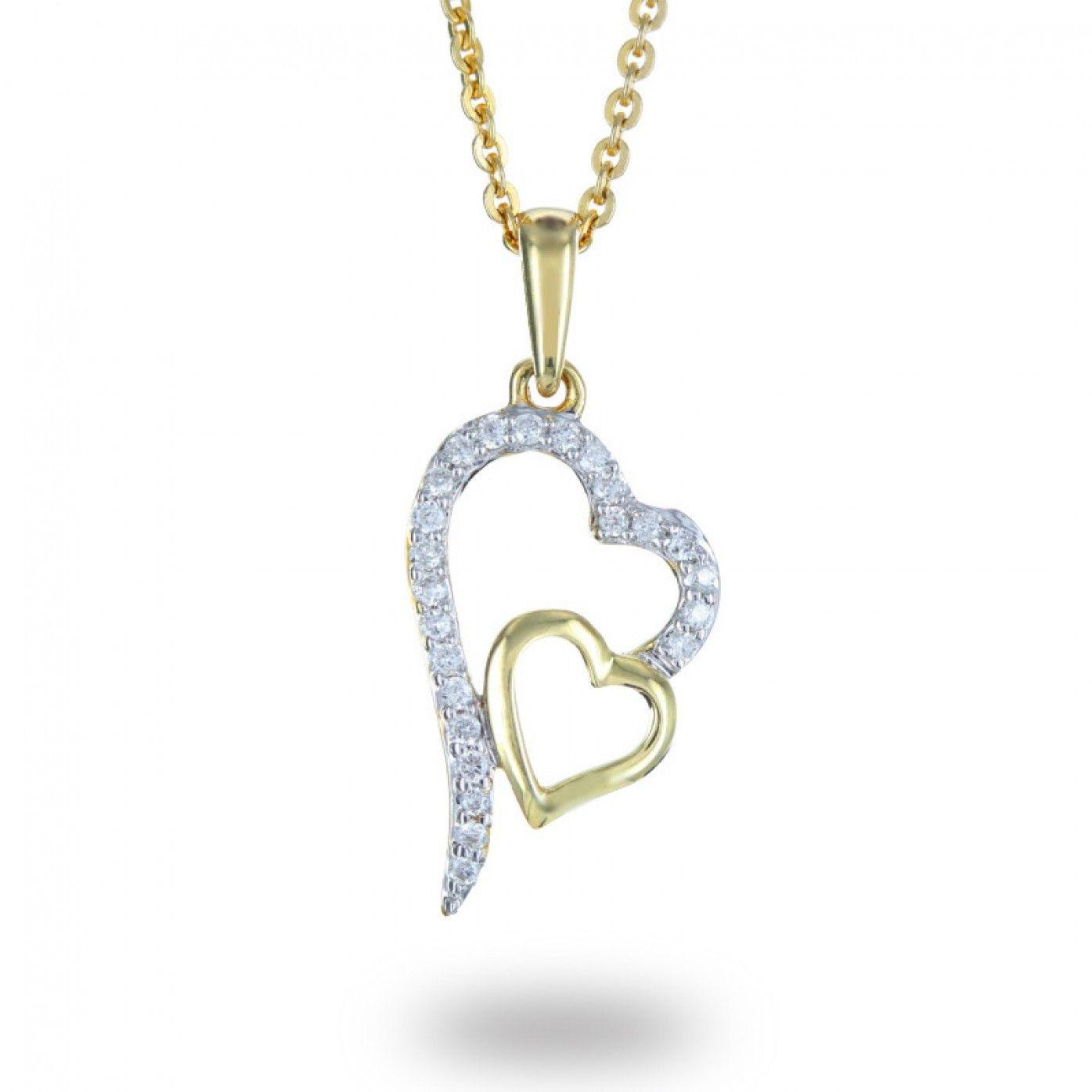 Interlocking heart shape ct diamond pendant in k yellow gold