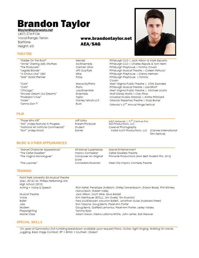 Resume For Actor  Acting Resumes