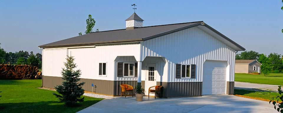 nice pole barns indiana #4: Suburban Building Profile Use: Pole-barn garage shop for mower and boat  storage Size