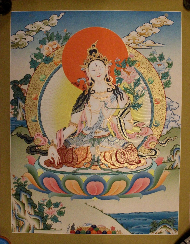 White Tara Thangka Tibetan Handmade in Nepal(PLT019) by ShakyaHandicraft on Etsy