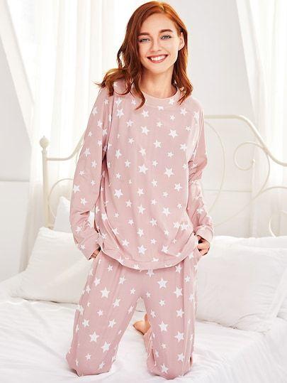 f1bc632359 Stars Print Pullover   Pants Pj SetFor Women-romwe