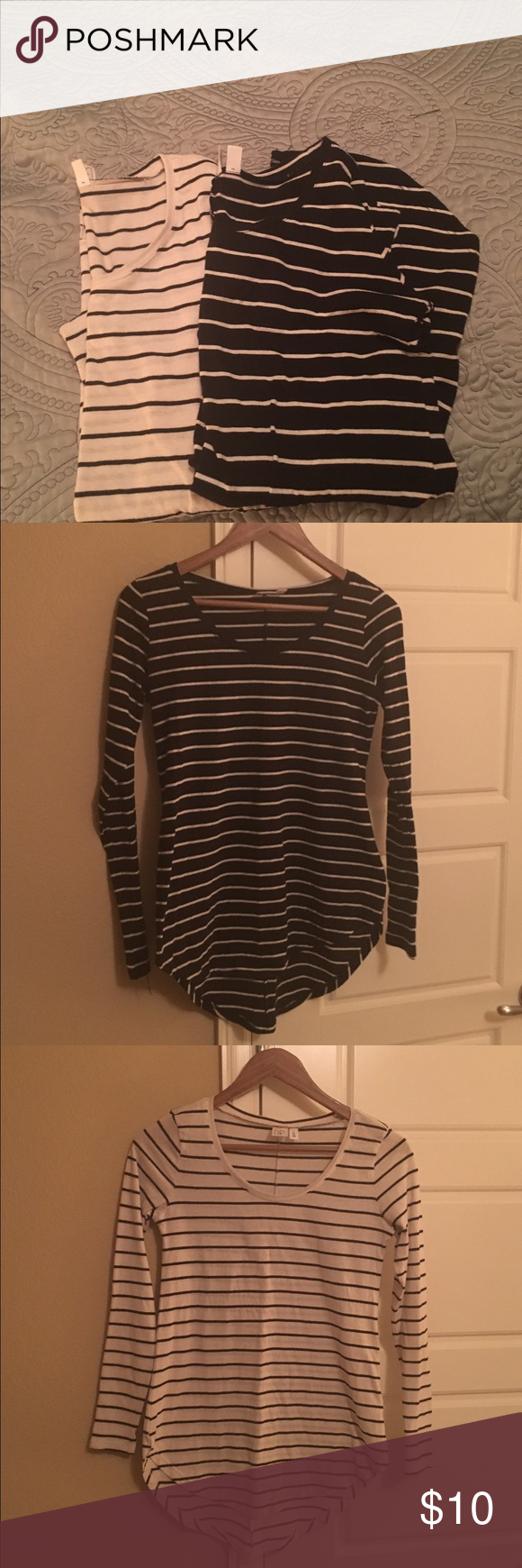 Two striped long sleeves T-shirts Black t-shirt with white stripes and white t-shirt with black stripes; both from Nordstrom; worn but in good condition - no rips, stains, or tears; both shirts have some pilling under the arms and along the sides of the body; the body of the shirts fit like a small but the arms are very tight Nordstrom Tops Tees - Long Sleeve