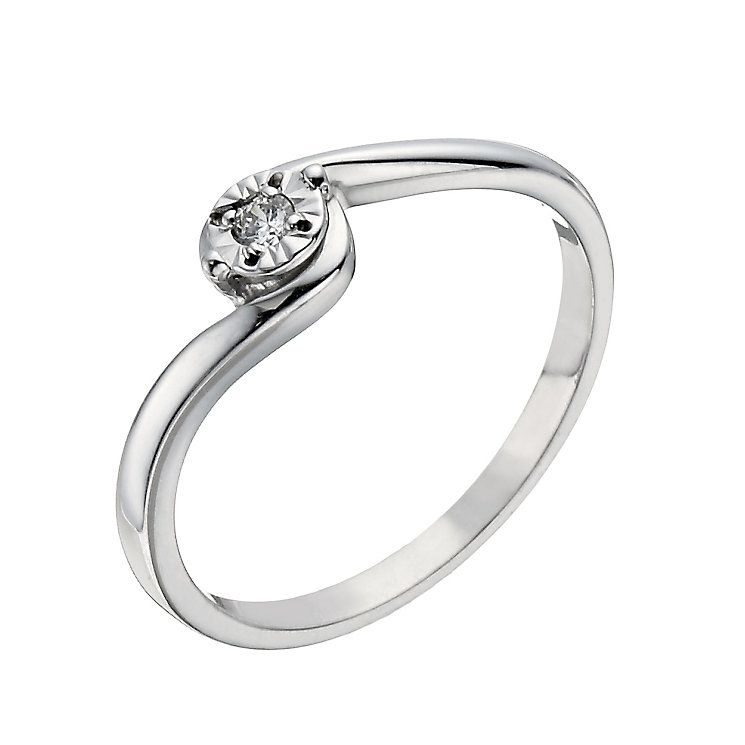 9ct White Gold Illusion Set Diamond Solitaire Ring Product number